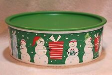 Tupperware CHRISTMAS JOLLY HOLIDAY SNOWMAN COOKIE/SNACK CANISTER ~ BRAND NEW!