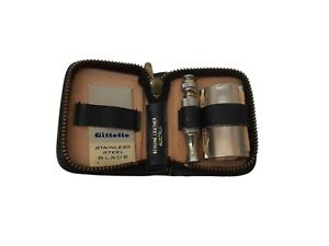 Vintage Gillette Travel Kit Safety Razor Black Leather Austria