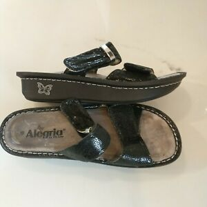Allegria Karmen Co black Snake Leather Sandals slip hook n loop 37