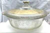Vintage Fire King Georges Briard Glass Gold Fleck Covered Casserole Dish