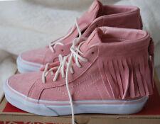 Vans Girls SK8-Hi Moc Suede Leather Fringe Hi-Top Trainers Sneaker Pink 2.5 JNR