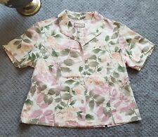 Jamaica Bay Women Short Sleeve Top Hawaiian Floral Button Up 100% Linen Sz Large