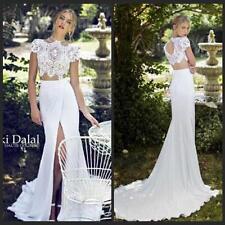 Summer Chiffon Beach Wedding Dresses Mermaid High Neck Two Piece Bridal Gowns