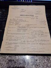 DECLARATION 1939 INTERNEE PRISONER POW WW2 GENDARME FRANCE POLICE POIRINE 1941