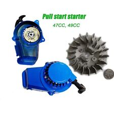 Blue Alloy Pull Start Recoil Starter Flywheel For 47cc 49cc Pocket Dirt Bike ATV