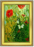 Framed Van Gogh Butterflies & Poppies Repro, Hand Painted Oil Painting, 24x36in