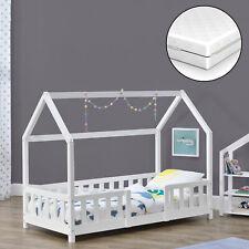 Kinderbett + Matratze mit Rausfallschutz 80x160cm Haus Holz Weiß Bettenhaus Bett