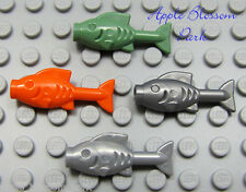 NEW Lego Lot/4 FISH Minifig Ocean Sea Food Animal Green Orange Pearl Gray/Silver