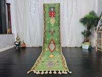 "Moroccan Boujad Handmade Runner Rug 2'4""x11' Geometric Green Red Berber Wool Rug"