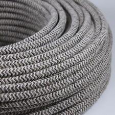 Cable Electrique Chevron Chanvre Sable Textile Tissu Rond Normes CE 2*0,75mm