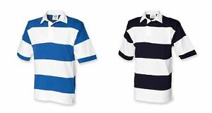 Gents Short Sleeve Striped Mens Front Row Rugby Shirt Small Medium FR09