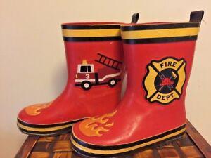 STEPHEN JOSEPH Fire Department Fire Ladder Engine BOOTS Boys Girls Toddler 9