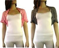Ladies Crochet Knit Crop Bolero Shrug Shawl Cardigan Top  XS S M 6-12 Grey Pink