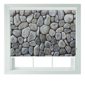 Dry Stone Wall Bathroom Printed Photo Black Out Roller Blinds 2 3 4 5ft