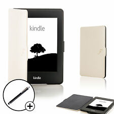 Leather White Shell Smart Case Cover for Amazon Kindle Paperwhite 2015 + Stylus