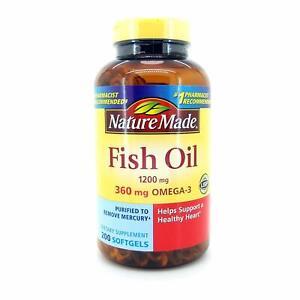 Nature Made Fish Oil 1200 mg 360 mg OMEGA 3, 200 Liquid Softgels, Exp 06/2023