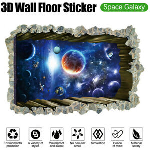 3D Space Galaxy Wall Floor Stickers Universe Scene Removable Wall Mural Decals S