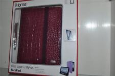 iHome iPad Case Purple Croc Case + Stylus Model IH-BD1000U w/Screen Protector