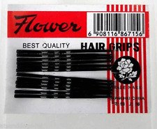 48 Pack Black Hair Grips Meilleure Qualité Kirby Grips Clips Bargain (4 x 12)
