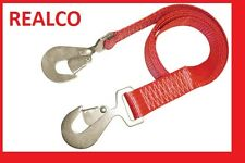 RED 10 METER TOW WEB WITH SNAP HOOKS (rope winching 4X4 recovery strap)