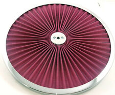 """Chrome Trimmed Red Element Open Style Washable 14"""" Filter Flow Air Cleaner Top"""