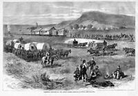 RAILROAD CONSTRUCTION ON GREAT PLAINS COVERED WAGON TRAIN INDIANS HORSES TENTS
