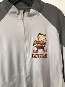 Team 365 Men's Cleveland Brown 3/4 Zip Gray Dark Gray Pullover Shirt Size XL