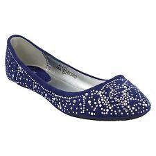 Cutie Para Niñas plano Ante Artificial Azul Oscuro Plata Zapatos Diamante h2194