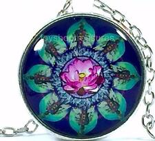 New Lotus Flower Necklace Mandala Pendant - Silver A bf