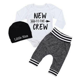 Newborn Baby Boys Outfits 3PCS Warm Casual Letter Print Romper Tops+Pants+Hat