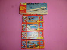 Vintage miniature model kits, Boeing 747 and 4 small planes