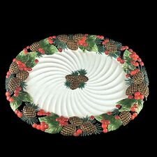 """NIB Fitz And Floyd Classic Holiday Pine Platter Large 20"""" Serving Platter 1993"""