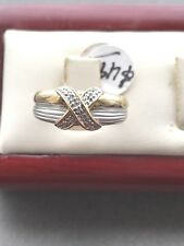 14 Kt Solid Gold Xox Ring With Diamonds Size 7.1/2