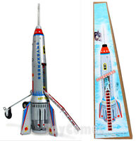 "MS378 Spaceship ""Skyexpress"" Friction Powered Rocket Ship Retro Tin Toy w/Box"