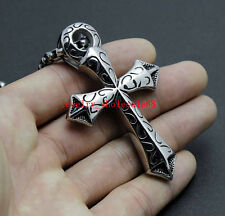 Stainless Steel Cross Pendant Mens Necklace 24'' Rolo Chain Silver Black Vintage