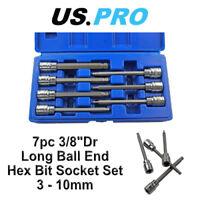 "US PRO 7pc 3/8""Dr Long Ball End Hex Bit Socket Set 3 - 10mm Allen Key 1499"