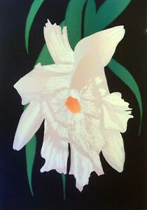 """MELANIE LUNDQUIST (b.1948) """"WHITE ORCHID"""" A LARGE CLASSIC ORCHID SERIGRAPH $75."""