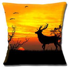CIERVO silueta Escena Funda de cojín 40.6x40.6cm 40cm BRILLO Sunset Árboles