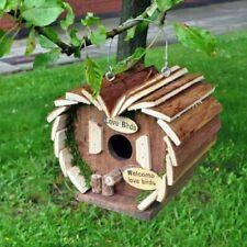 De Lujo Madera Pájaro Colgante Caja & Alimentador Pequeño Jardín Aves Nido Casa