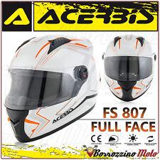 CASO INTEGRALE ACERBIS FS-807 MOTO SCOOTER FULL FACE BIANCO ARANCIO TAGLIA XS
