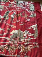 PAIR 50'S MID MOD COWBOY HORSE RED BARKCLOTH VINTAGE DRAPERIES DRAPES RETRO FABR