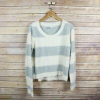 LC LAUREN CONRAD Women's Fuzzy Long Sleeve Pullover Sweater S Small Striped