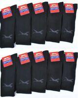 10 Pairs Slazenger Mens Sports Crew Work Socks Black Size UK 7 - 11 D336
