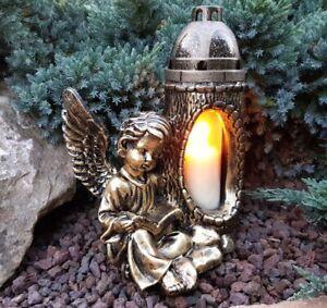 Engel Figur Grablaterne Grablampe Grableuchter Grablicht Grabschmuck Kerze Neu