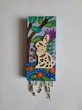 Folk Art ORIGINAL Bunny Flower Tree Branch Leaf Berry Meadow Landscape Bead