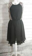 Lilly Rose dress medium black lace print hi-low sleeveless