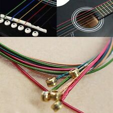 6pcs/set Acoustic Guitar Strings Rainbow Colorful Guitar Steel Strings