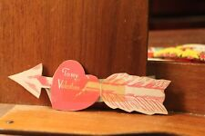 ca. 1900's Antique Valentine's Day Card Die Cut Cupid's Arrow Taped Up