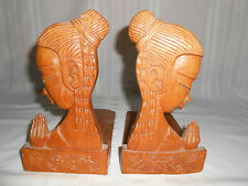 Lot Of 2 Vintage Hand Made Carved Praying Women Wood Wooden Folding Book Ends
