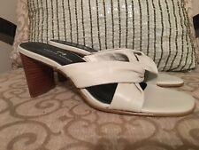 Etienne Aigner Womens Dress Sandals White Leather Shoes Size 6.5 Medium